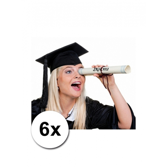 Zwarte diploma hoedjes 6x