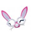Roze bril met konijnenoren en snuit
