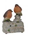 Decoratie vogel tuinbeeldje roodborstjes met geluid 11 cm