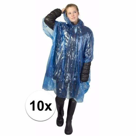 10x blauwe regen ponchos voor volwassenen