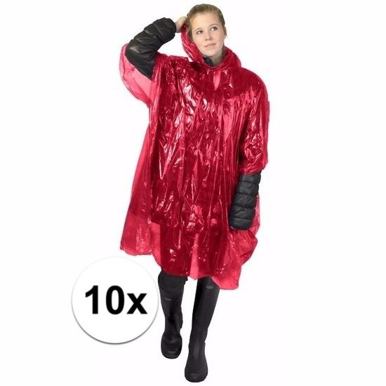 10x rode regen ponchos voor volwassenen