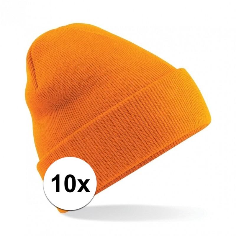 10x Winter muts voor volwassenen oranje