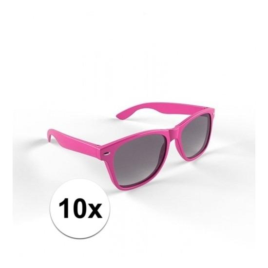 10x Zonnebril met kunststof roze montuur voor volwassenen