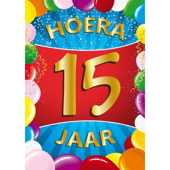 15 jaar thema mega deurposter Shoppartners Leeftijd feestartikelen