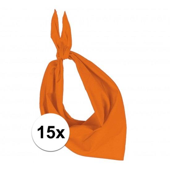 15x Bandana zakdoeken oranje