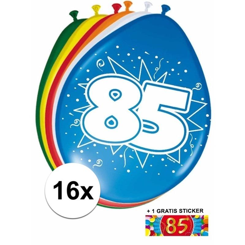 16 party ballonnen 85 jaar opdruk + sticker