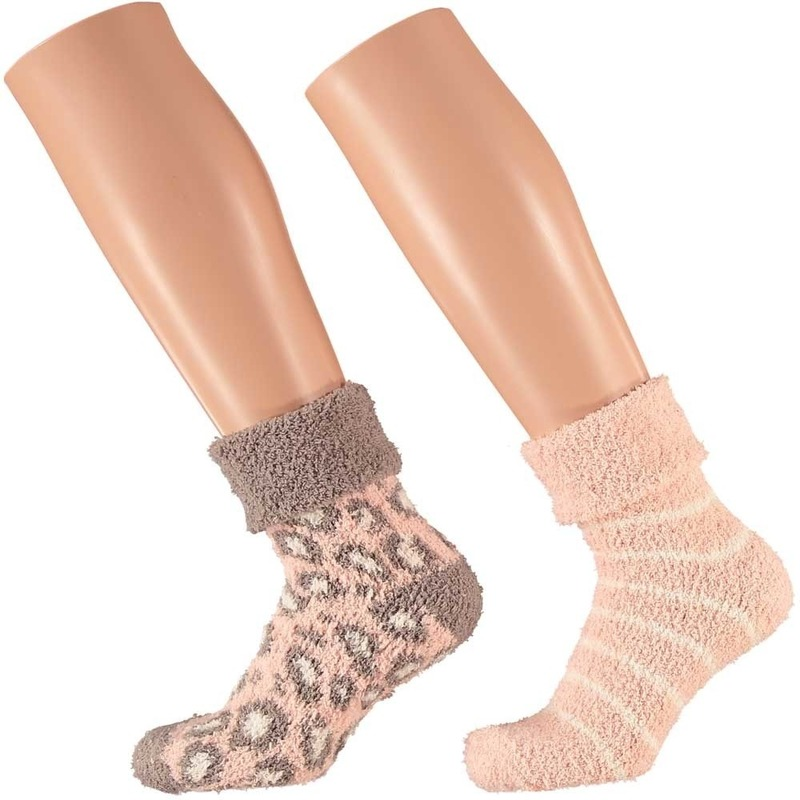 2-pack warme bedsokken panter roze/wit voor dames