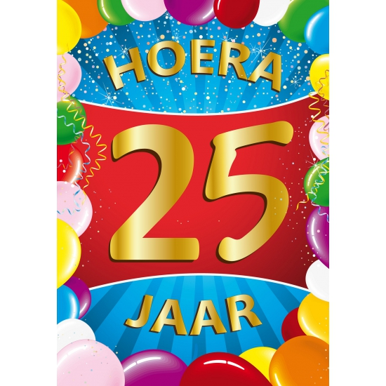 25 jaar thema mega deurposter Shoppartners Leeftijd feestartikelen