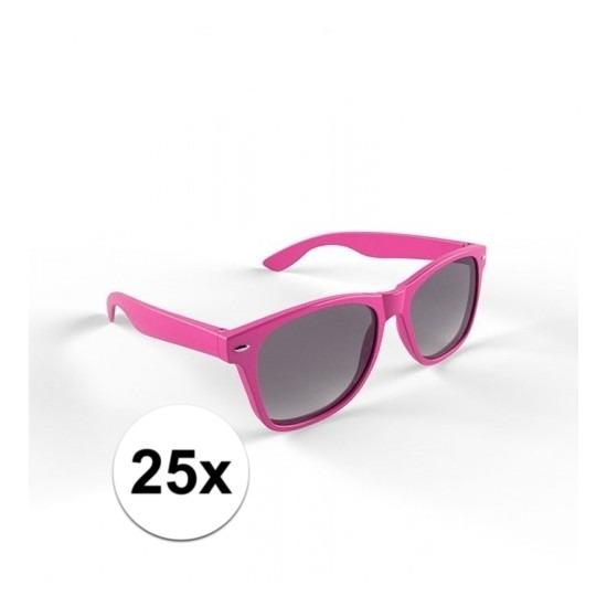 25x Zonnebril met kunststof roze montuur voor volwassenen