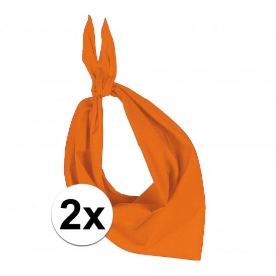 2x Bandana zakdoeken oranje