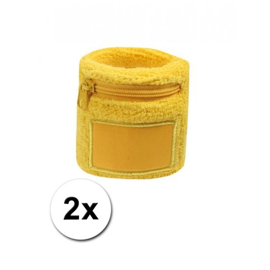 2x Gele blauwe zweetbandjes met zakje