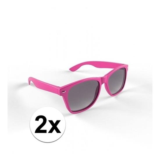 2x Zonnebril met kunststof roze montuur voor volwassenen