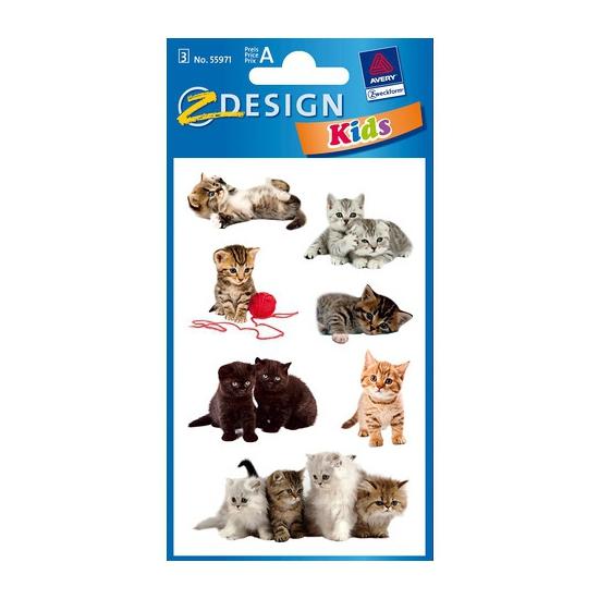Schoolspullen Geen 3 vellen met kitten stickers