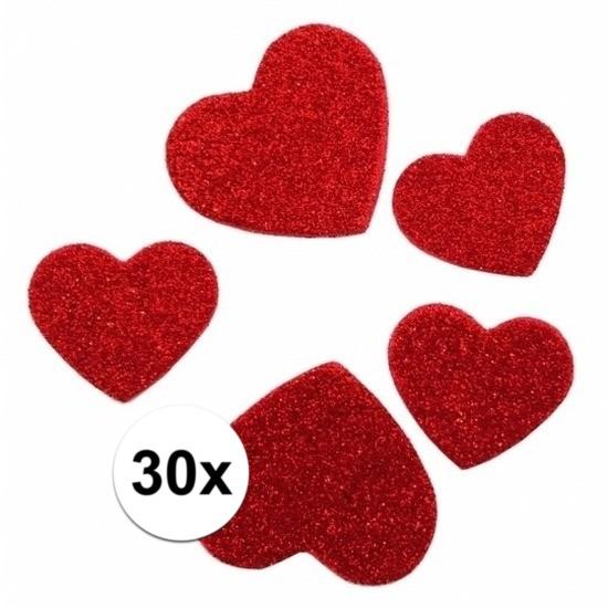Valentijn feestartikelen 30 stickertjes in de vorm van hartjes
