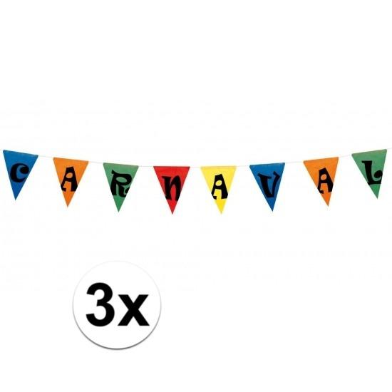 3x Carnaval vlaggen versiering 10 meter