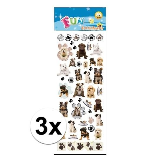 Geen 3x Poezie album stickers honden Schoolspullen