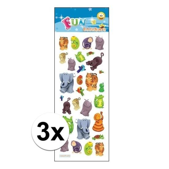 Schoolspullen Geen 3x Poezie album stickers jungle dieren