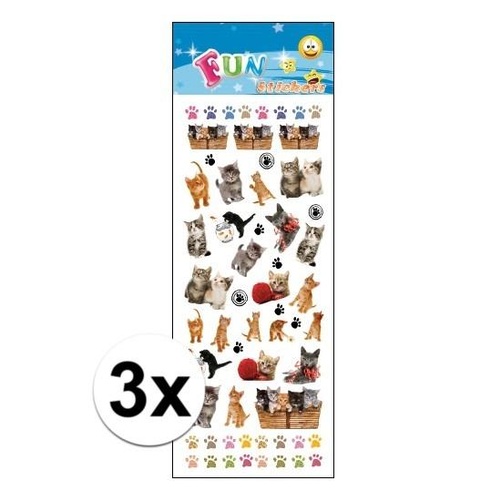 Schoolspullen 3x Poezie album stickers kittens