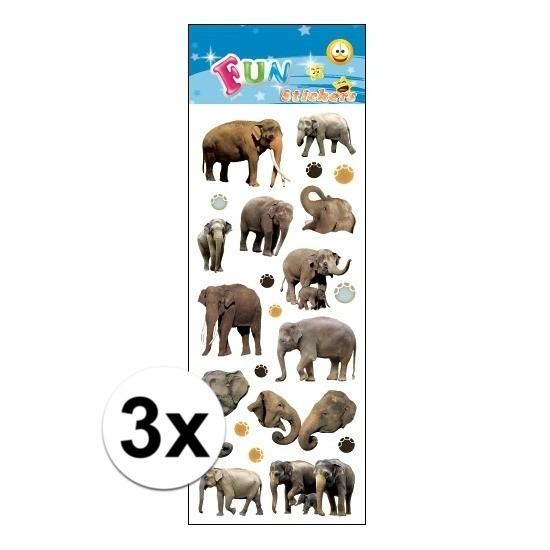 Geen 3x Poezie album stickers olifanten Schoolspullen