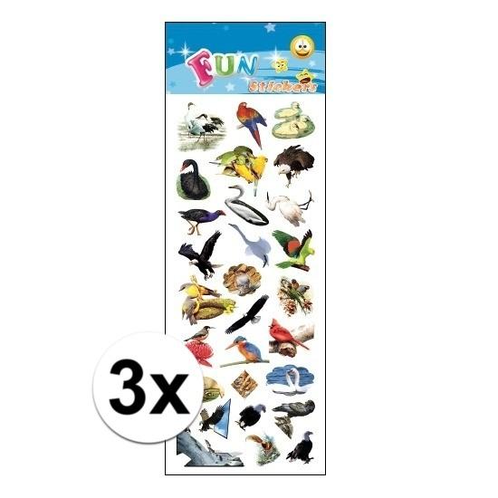 Schoolspullen Geen 3x Poezie album stickers vogels