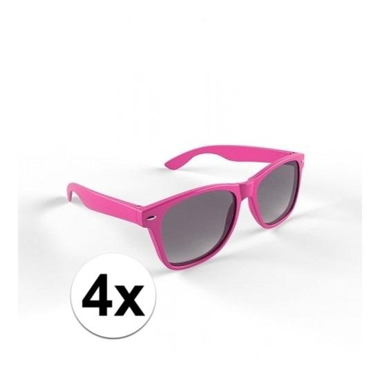 4x Zonnebril met kunststof roze montuur voor volwassenen
