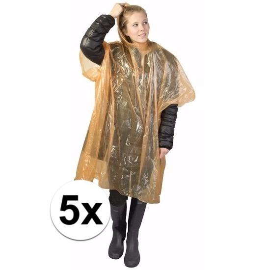 5x oranje regen ponchos voor volwassenen