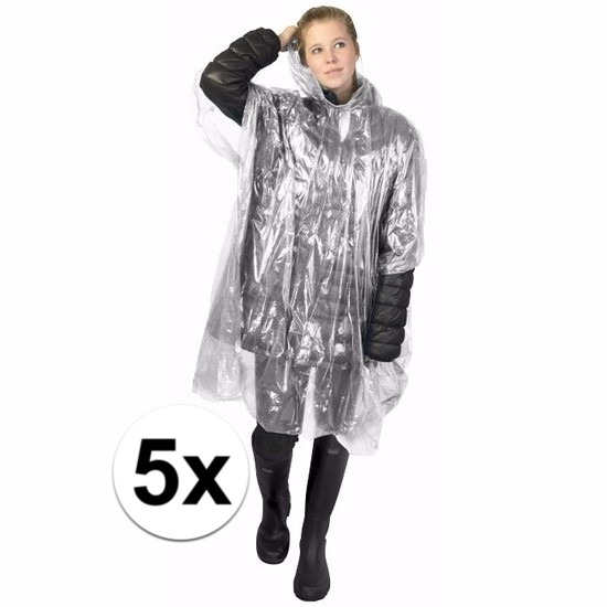 5x transparante regen ponchos voor volwassenen