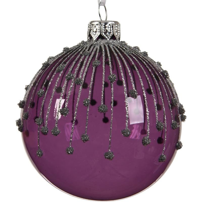 Geen 6x Paarse kerstversiering kerstballen met glitterlijnen van glas 8 cm Kerst feestartikelen