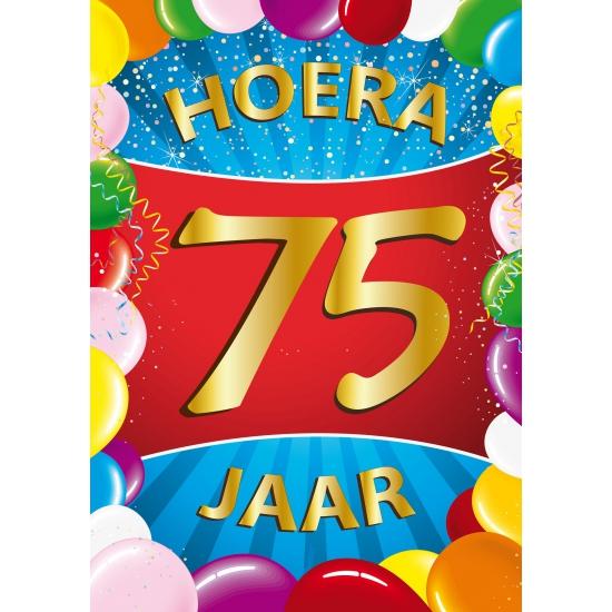 Leeftijd feestartikelen Shoppartners 75 jaar thema mega deurposter
