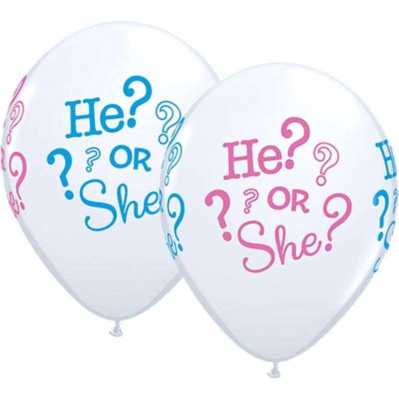 Babyshower ballonnen he or she 25 stuks