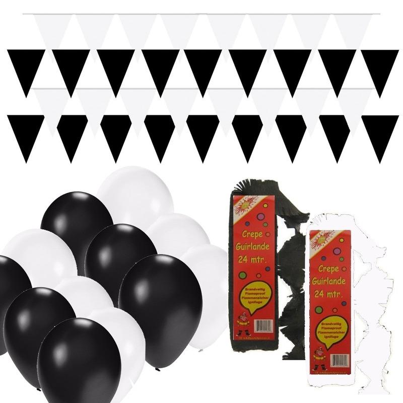 Black and White feest thema versiering pakket huiskamer