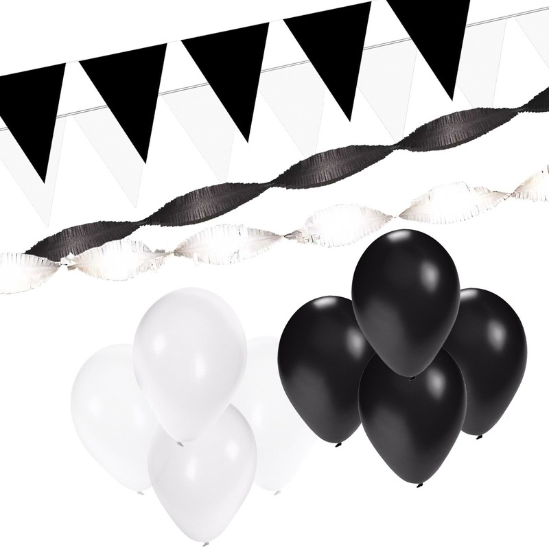 Black and White feest thema versiering pakket XL