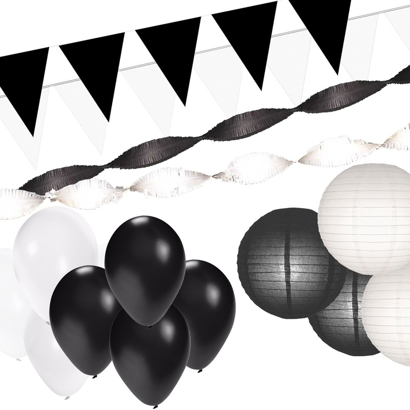 Black and White feest thema versiering pakket XXL