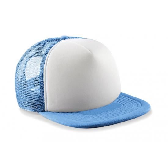 Blauw/witte vintage baseball cap voor kinderen