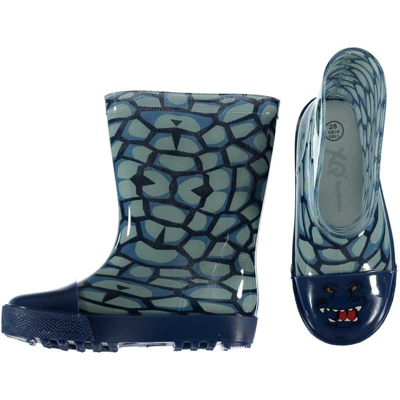 Blauwe kinder regenlaarzen met reptielen print