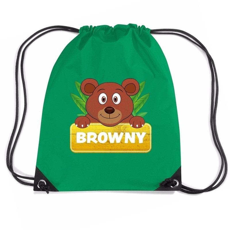 Browny de Beer rugtas / gymtas groen voor kinderen