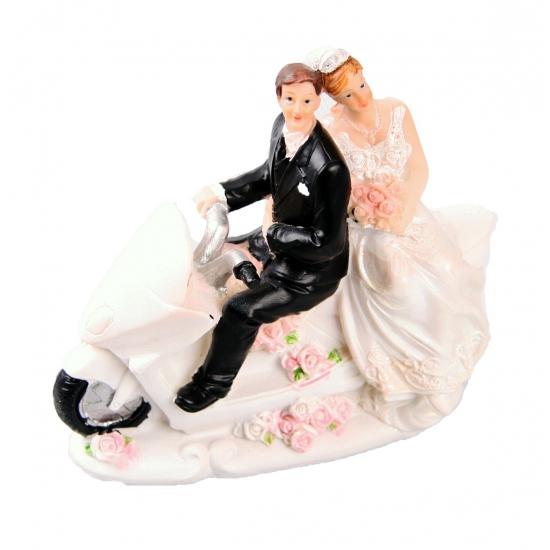 Bruidstaart decoratie bruidspaar op de motor