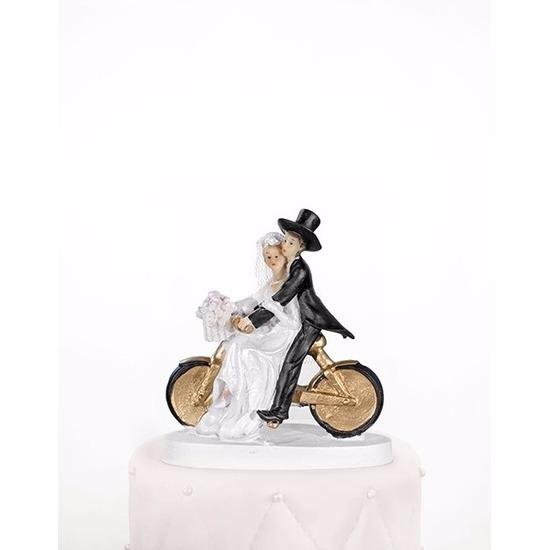 Bruidstaart decoratie bruidspaar op een fiets 13 cm