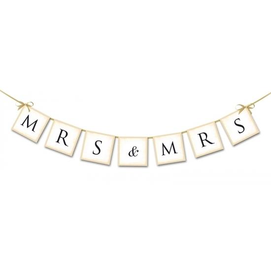 Bruiloft versiering mini slinger Mrs & Mrs