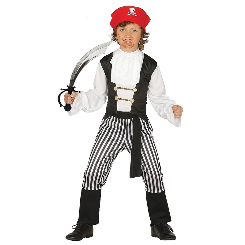 Carnavalskleding piraat met zwaard maat 110-116 voor jongens/meisjes