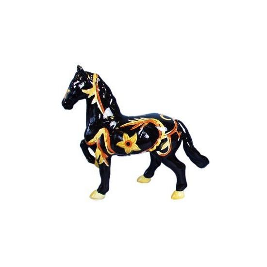 Decoratie paard spaarpot zwart geel