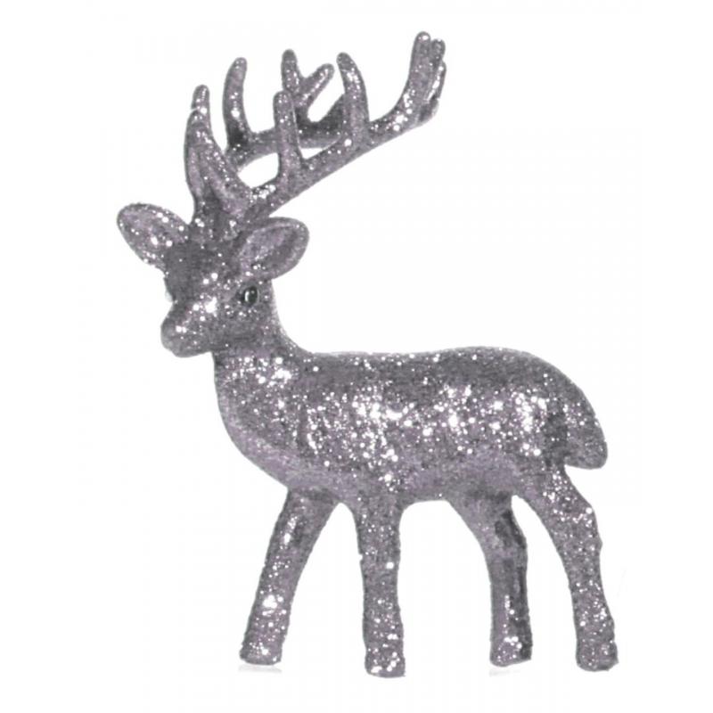 Plastic rendier met zilveren glitters. het decoratie rendier kan rechtop staan en heeft een formaat van 4 x 8 ...