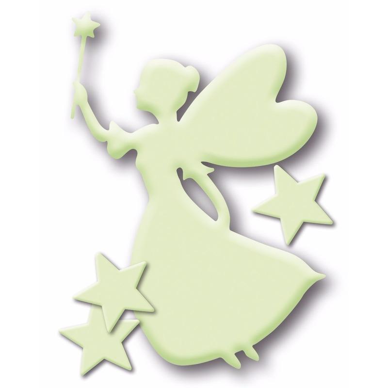 Geen Decoratie stickers glow in the dark elfje met sterretjes Schoolspullen
