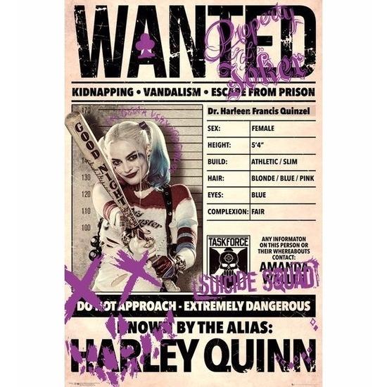 Woonaccessoires Deurposter Suicide Squad Harley Quinn Wanted 61x91cm