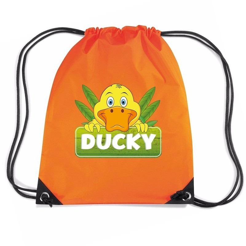 Ducky de eend rugtas / gymtas oranje voor kinderen