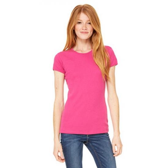 Fuchsia dames t-shirtjes Hanna ronde hals