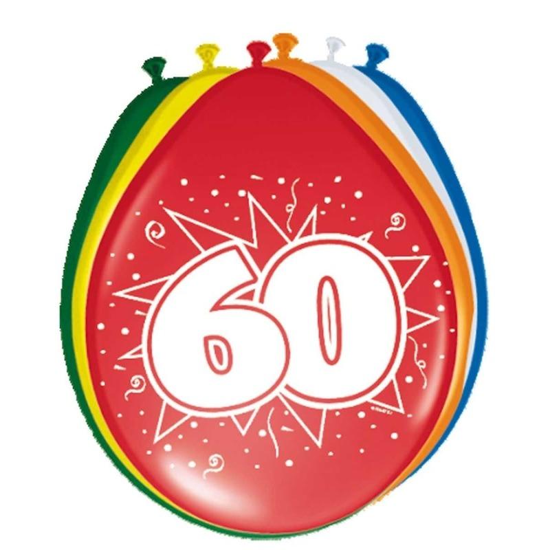 Gekleurde ballonnen versiering 60 jaar 16x stuks
