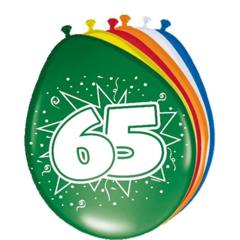 Gekleurde ballonnen versiering 65 jaar 8x stuks