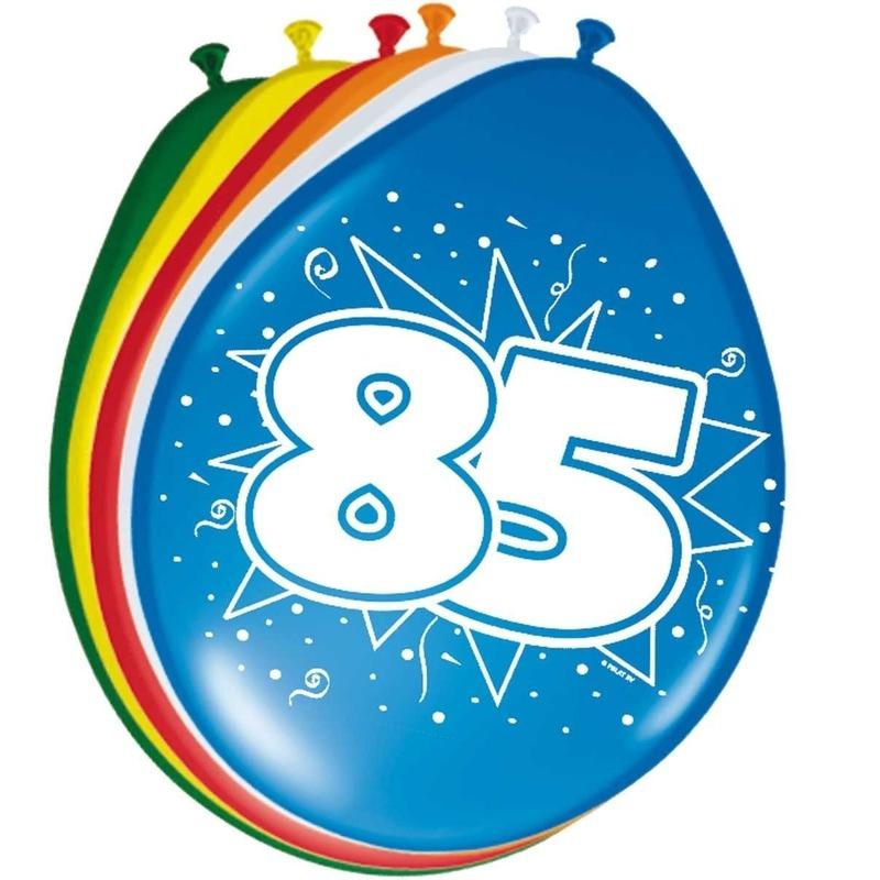 Gekleurde ballonnen versiering 85 jaar 16x stuks