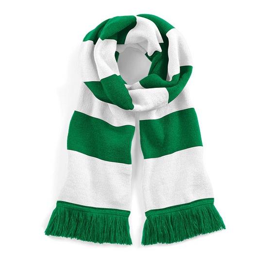 Gestreepte retro sjaal wit/groen
